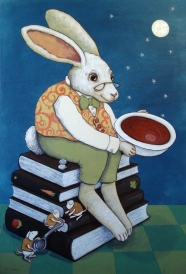 """""""Soup Moon"""" by Sue Clancy 36 x 24 x 2 inches hand dyed paper, handmade paste paper and acrylic on cradled board"""
