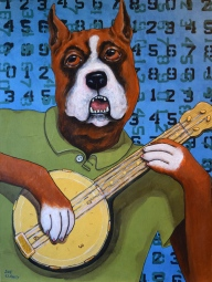 """""""Banjo Time"""" by Sue Clancy 24 x 18 x 2 inches hand dyed paper, hand stenciled paper, and acrylic on cradled board"""