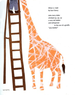 """cut handmade paper illustration for a poem titled """"What J. J. Said"""" by Sue Clancy (art and words both are by Sue)"""