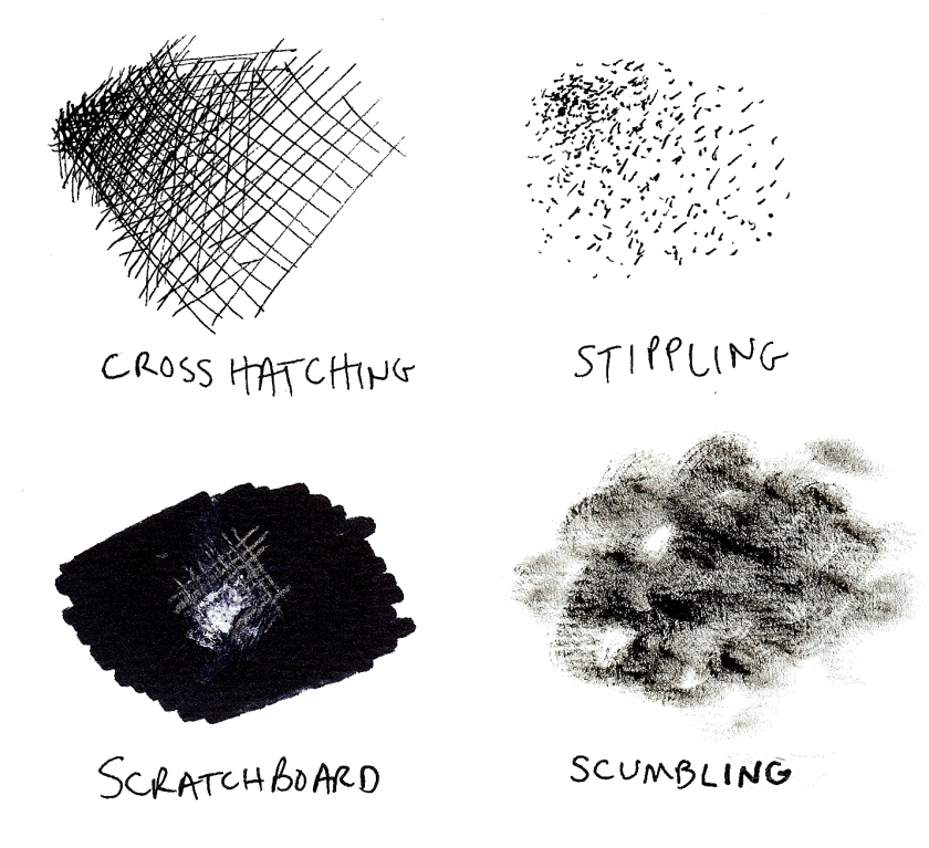 Here are the drawing/painting techniques described in this post - just in case...