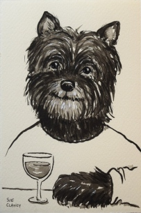 """Olive"" by Clancy - ink on handmade paper - https://store.bookbaby.com/book/Dogs-By-Sue-Clancy"